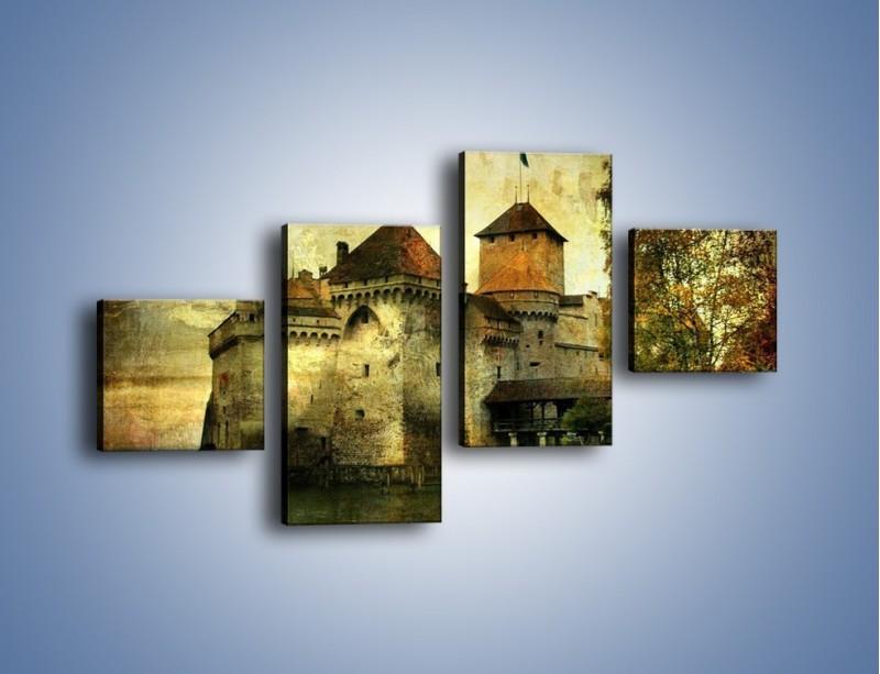 Obraz na płótnie – Średniowieczny zamek w stylu vintage – czteroczęściowy AM233W3