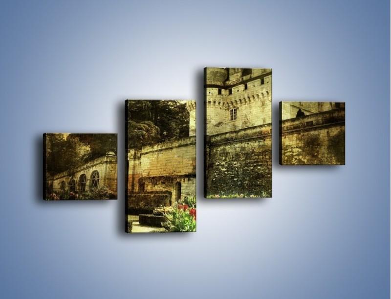 Obraz na płótnie – Zamek w stylu vintage – czteroczęściowy AM234W3