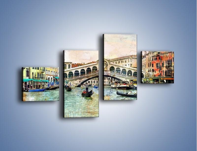 Obraz na płótnie – Wenecja w stylu vintage – czteroczęściowy AM239W3