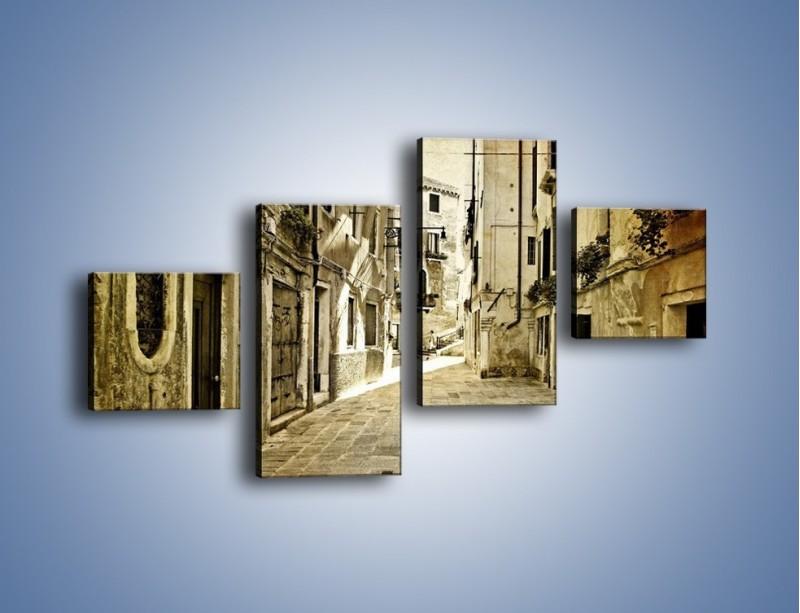 Obraz na płótnie – Stara uliczka w stylu vintage – czteroczęściowy AM243W3