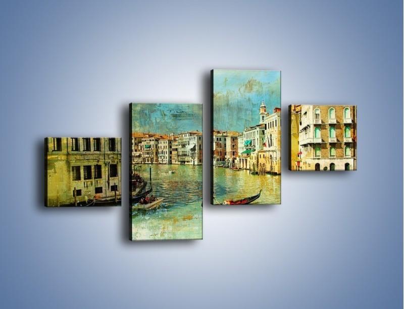 Obraz na płótnie – Weneckie lato w stylu vintage – czteroczęściowy AM245W3