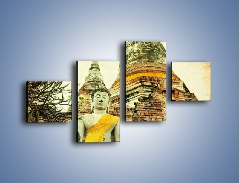Obraz na płótnie – Tybetańska architektura w stylu vintage – czteroczęściowy AM247W3