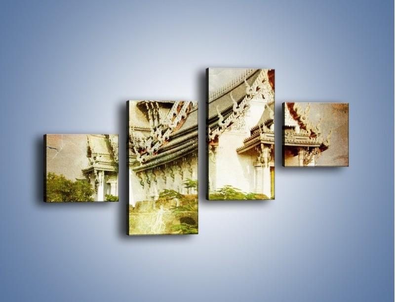 Obraz na płótnie – Dalekowschodnia architektura vintage – czteroczęściowy AM248W3
