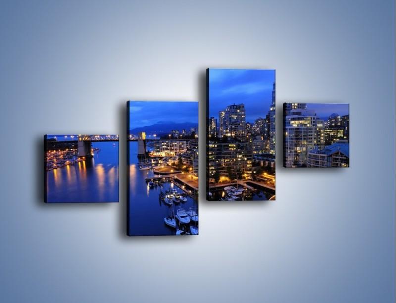 Obraz na płótnie – Port na jachty w mieście nocą – czteroczęściowy AM250W3