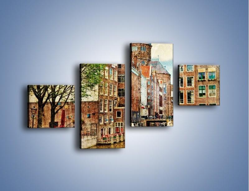 Obraz na płótnie – Kanał w Amsterdamie vintage – czteroczęściowy AM259W3