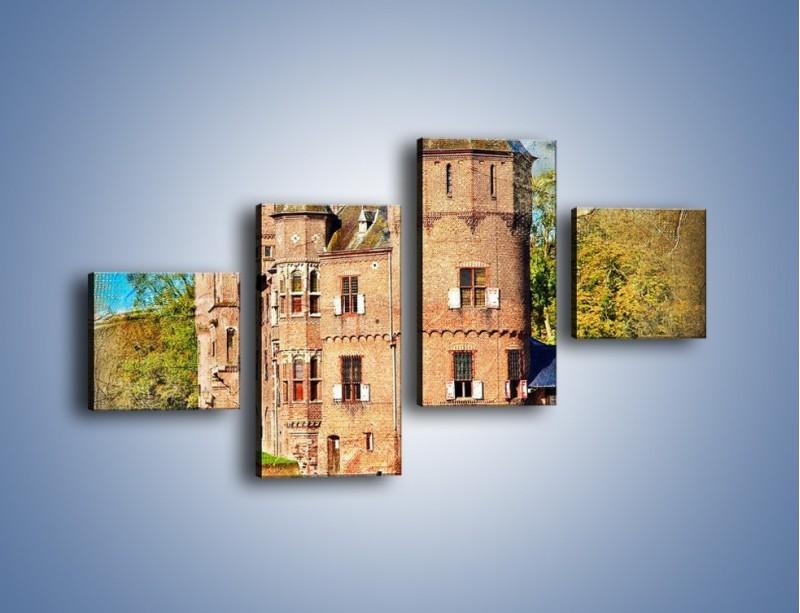 Obraz na płótnie – Zamek nad wodą w stylu vintage – czteroczęściowy AM262W3