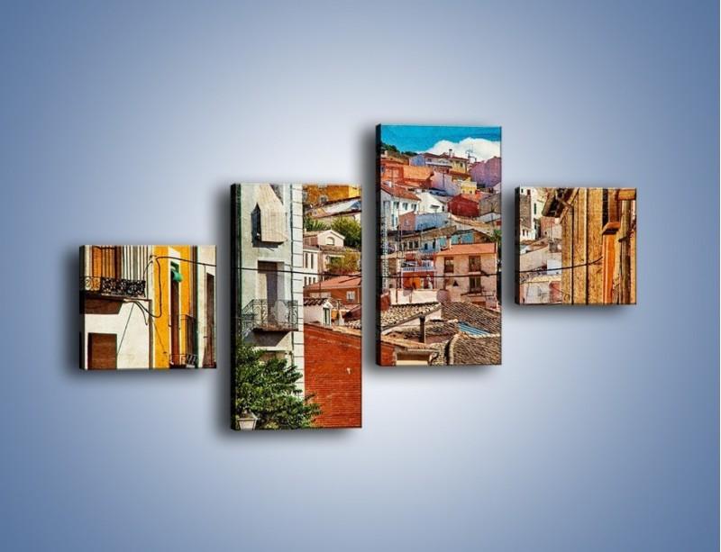 Obraz na płótnie – Kolorowe domki na wzgórzu vintage – czteroczęściowy AM264W3
