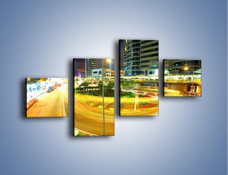 Obraz na płótnie – Światła samochodów w ruchu – czteroczęściowy AM280W3