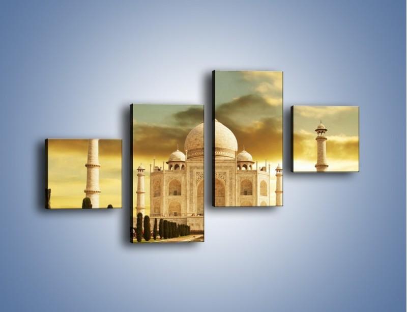 Obraz na płótnie – Tadź Mahal o zachodzie słońca – czteroczęściowy AM285W3