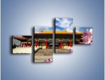 Obraz na płótnie – Azjatycka architektura z kwiatami – czteroczęściowy AM298W3