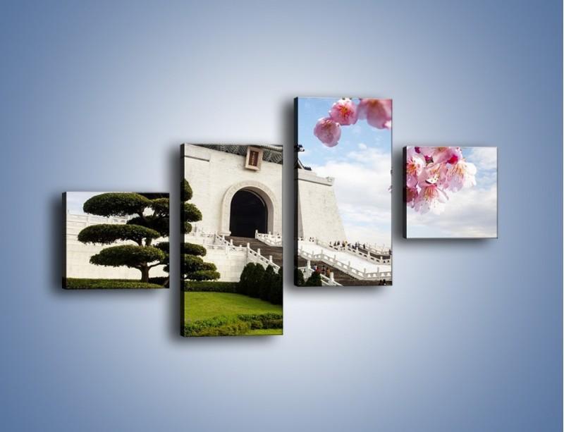 Obraz na płótnie – Azjatycka architektura – czteroczęściowy AM299W3