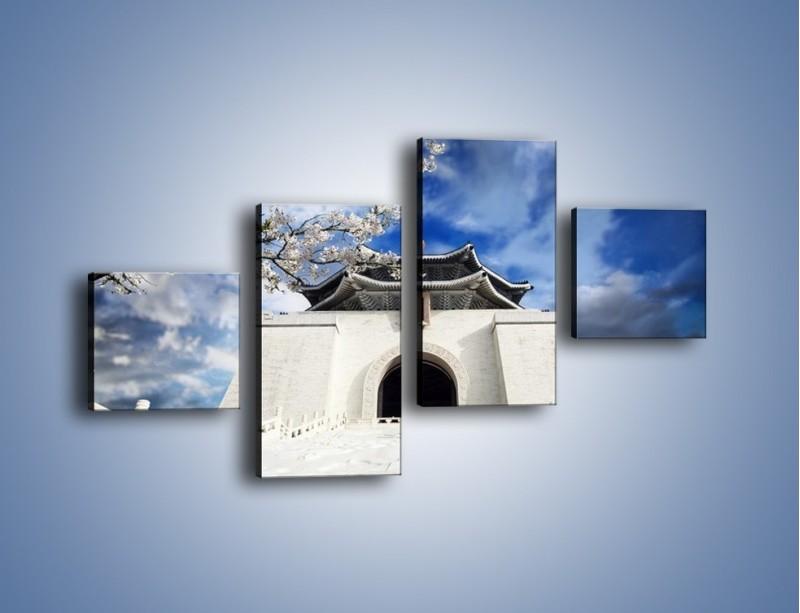 Obraz na płótnie – Azjatycka architektura z białymi kwiatami – czteroczęściowy AM300W3