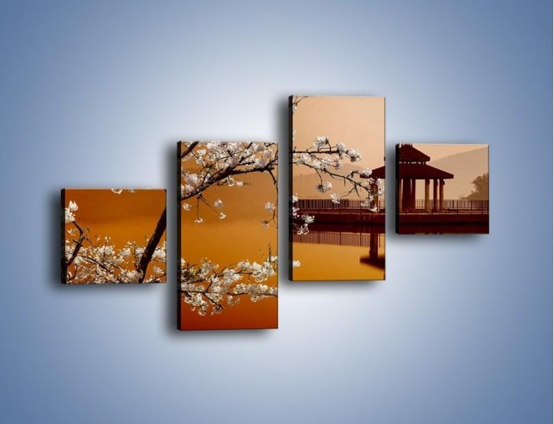 Obraz na płótnie – Kwiaty na tle Sun Moon Lake – czteroczęściowy AM301W3