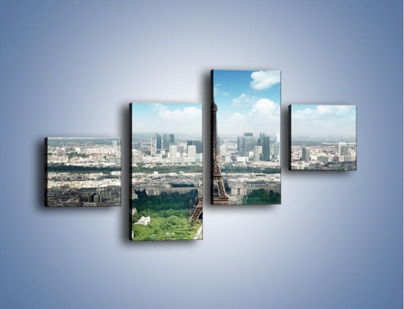 Obraz na płótnie – Chmury nad Wieżą Eiffla – czteroczęściowy AM302W3