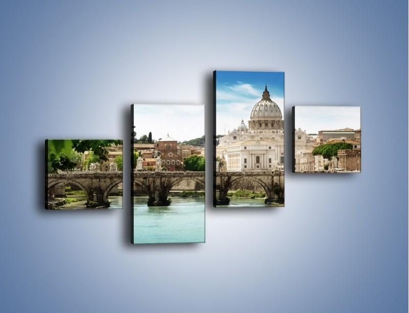 Obraz na płótnie – Rzeka Tyber na tle bazyliki – czteroczęściowy AM303W3