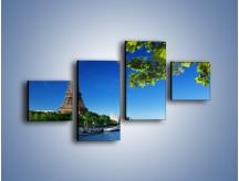 Obraz na płótnie – Wieża Eiffla w piękny dzień – czteroczęściowy AM304W3