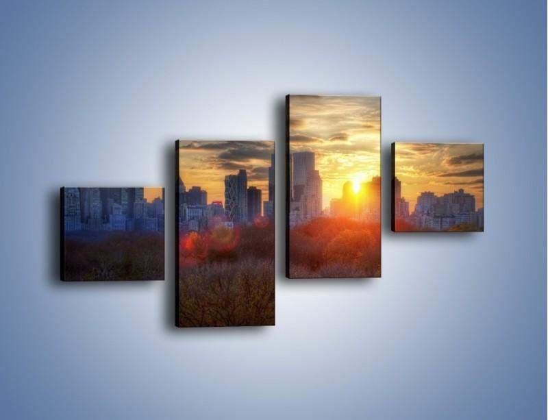 Obraz na płótnie – Wschód słońca nad miastem – czteroczęściowy AM318W3