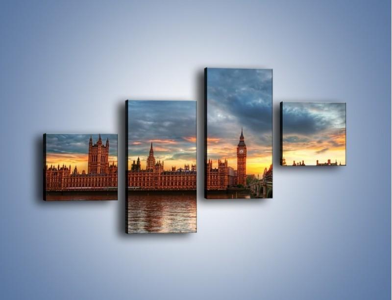 Obraz na płótnie – Pałac Westmnisterski i Big Ben – czteroczęściowy AM321W3
