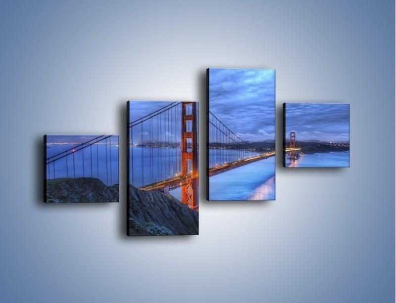 Obraz na płótnie – Most Golden Gate – czteroczęściowy AM328W3