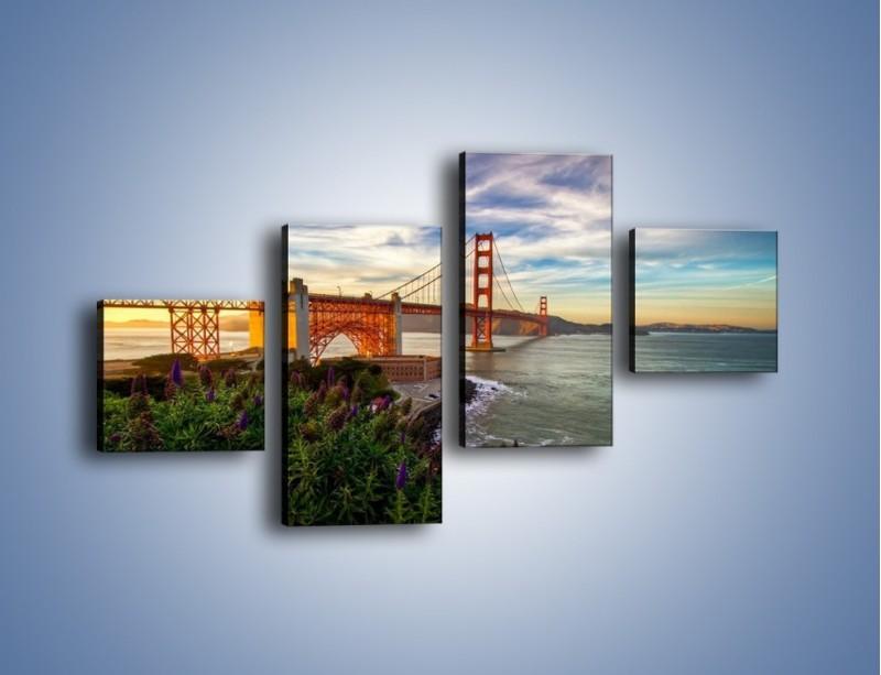 Obraz na płótnie – Most Golden Gate o zachodzie słońca – czteroczęściowy AM332W3
