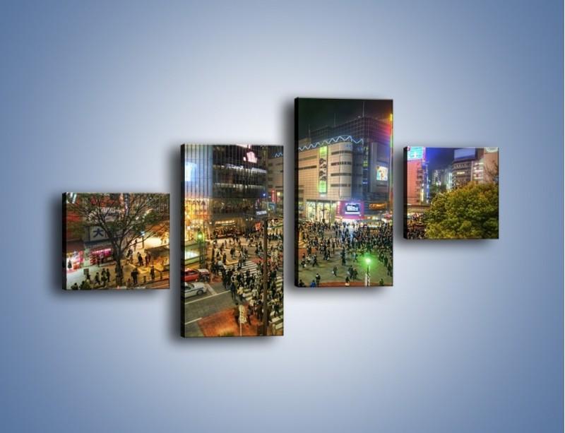 Obraz na płótnie – Zatłoczone ulice Toyko nocą – czteroczęściowy AM333W3