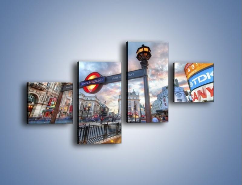 Obraz na płótnie – Wejście do londyńskiego metro – czteroczęściowy AM334W3