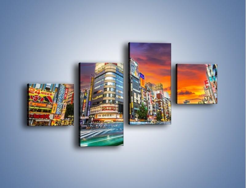 Obraz na płótnie – Tokyo na tle kolorowego nieba – czteroczęściowy AM336W3