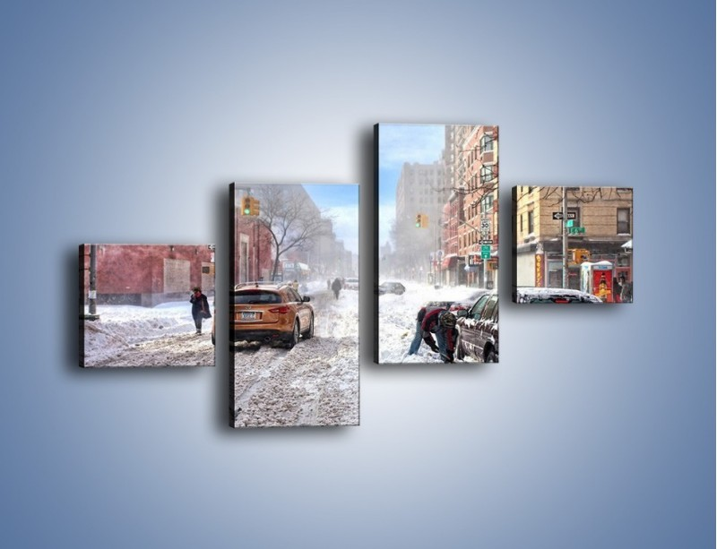 Obraz na płótnie – Zaśnieżone ulice miasta – czteroczęściowy AM342W3