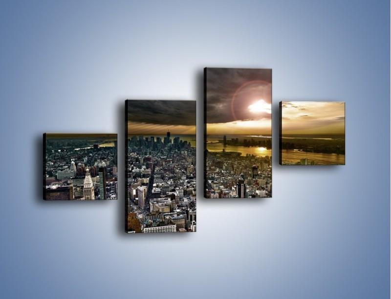 Obraz na płótnie – Czarne chmury nad Nowym Yorkiem – czteroczęściowy AM347W3