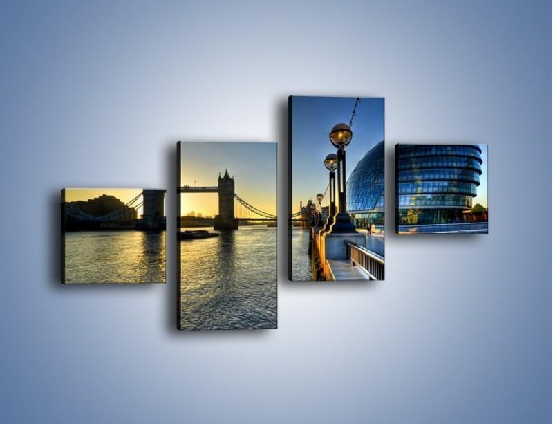 Obraz na płótnie – Londyński Tower Bridge – czteroczęściowy AM348W3