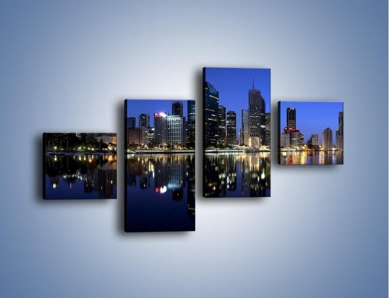 Obraz na płótnie – Brisbane w Australii nocą – czteroczęściowy AM354W3