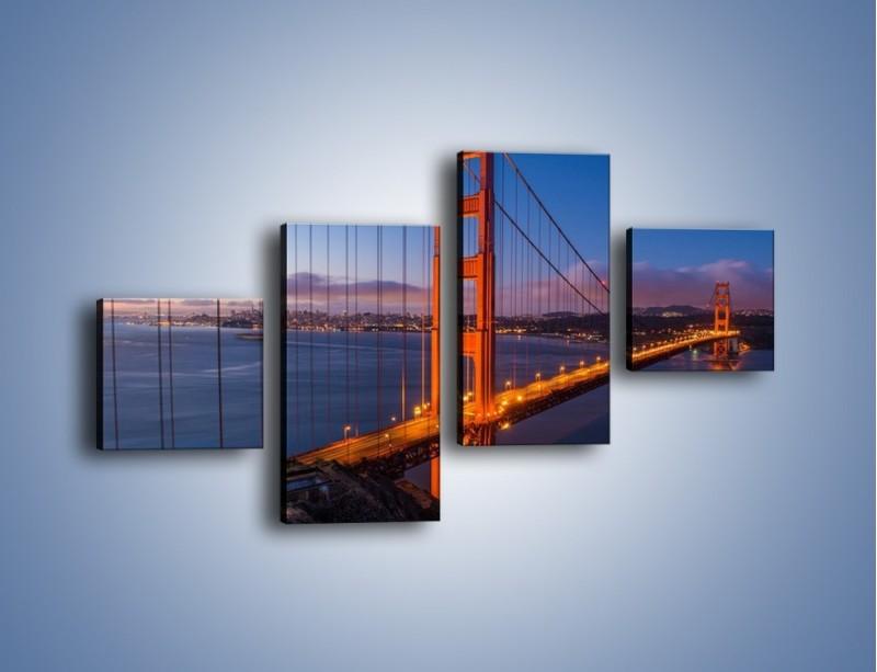 Obraz na płótnie – Rozświetlony most Golden Gate – czteroczęściowy AM360W3