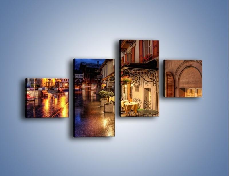 Obraz na płótnie – Romantyczne miasteczko pod Alpami – czteroczęściowy AM368W3