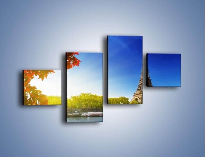 Obraz na płótnie – Wieża Eiffla w piękny dzień – czteroczęściowy AM373W3