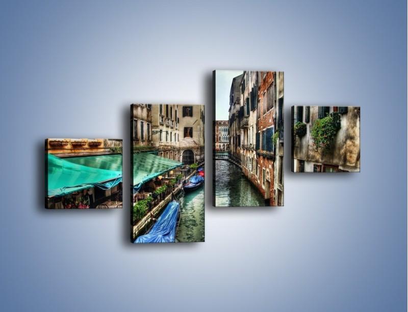 Obraz na płótnie – Wenecka uliczka w kolorach HDR – czteroczęściowy AM374W3