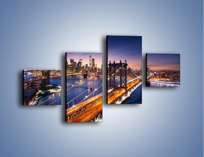 Obraz na płótnie – Zachodzące słońce nad Manhattanem – czteroczęściowy AM377W3