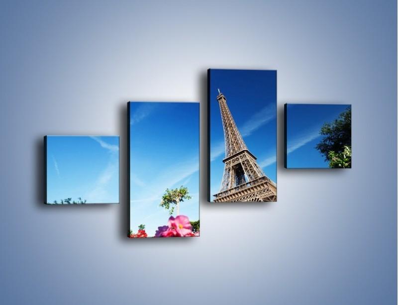 Obraz na płótnie – Wieża Eiffla pod błękitnym niebem – czteroczęściowy AM379W3
