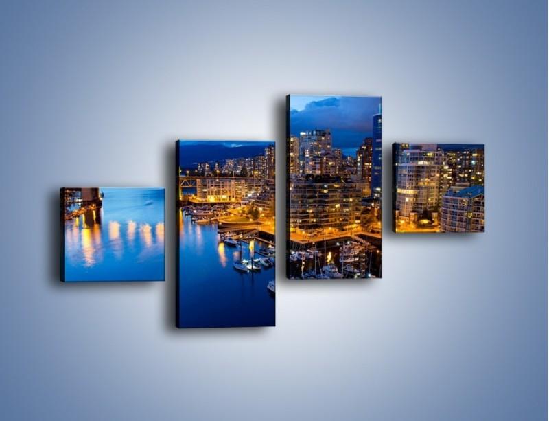 Obraz na płótnie – Zapadająca noc nad Vancouver – czteroczęściowy AM384W3