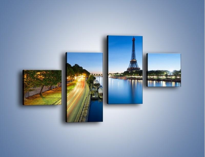 Obraz na płótnie – Zapadający zmrok w Paryżu – czteroczęściowy AM385W3