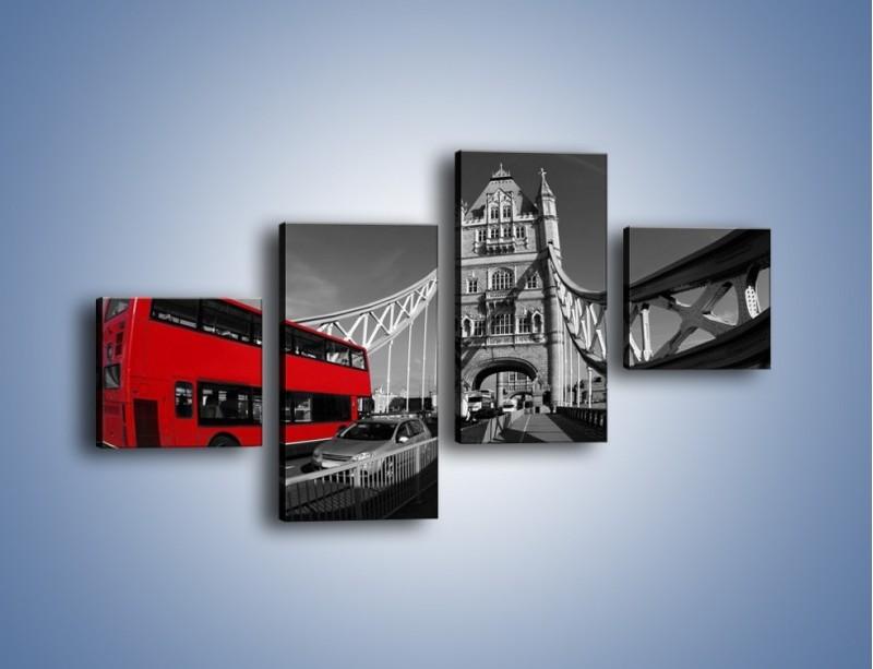 Obraz na płótnie – Tower Bridge i czerwony autobus – czteroczęściowy AM394W3
