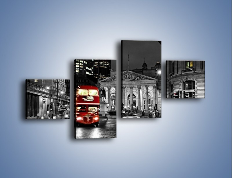 Obraz na płótnie – Czerwony autobus w Londynie – czteroczęściowy AM395W3