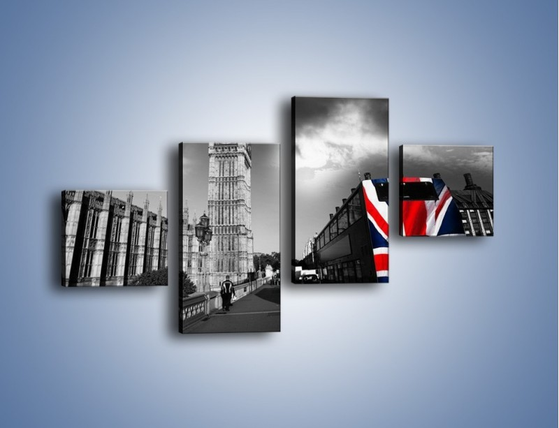 Obraz na płótnie – Big Ben i autobus z flagą UK – czteroczęściowy AM396W3