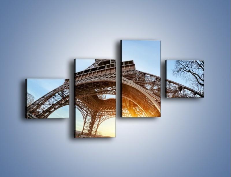 Obraz na płótnie – Wieża Eiffla w słońcu – czteroczęściowy AM403W3