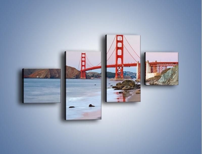 Obraz na płótnie – Most Golden Gate – czteroczęściowy AM406W3