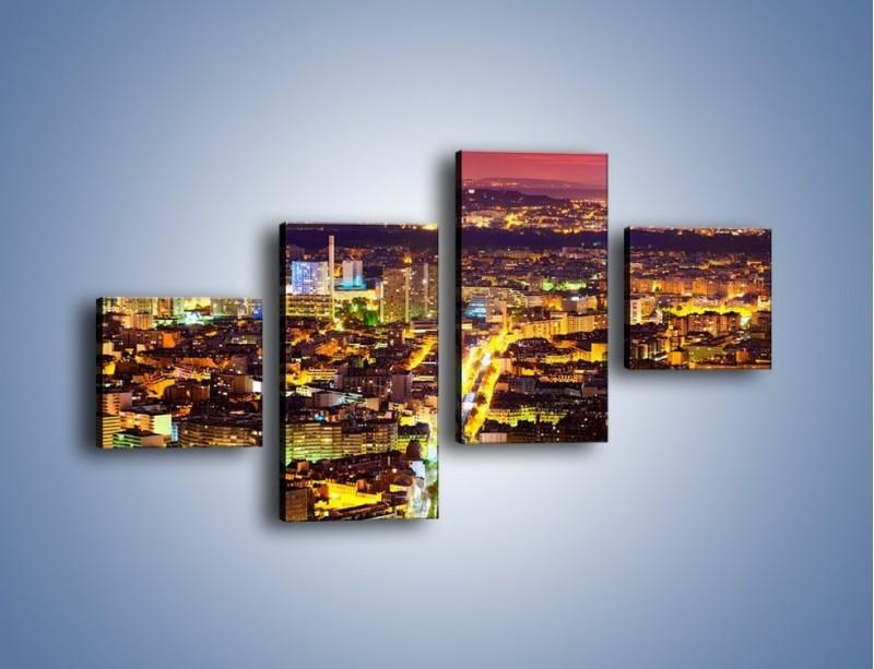 Obraz na płótnie – Kolory Paryża nocą – czteroczęściowy AM419W3