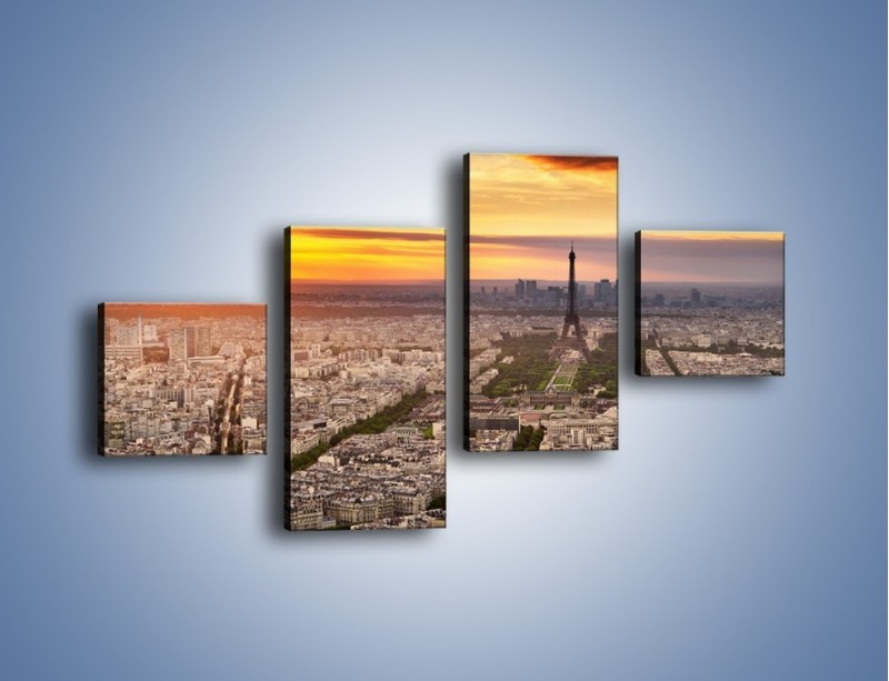 Obraz na płótnie – Zachód słońca nad Paryżem – czteroczęściowy AM420W3