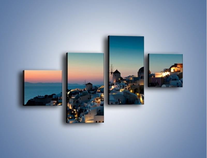 Obraz na płótnie – Domki na Santorini po zmierzchu – czteroczęściowy AM421W3
