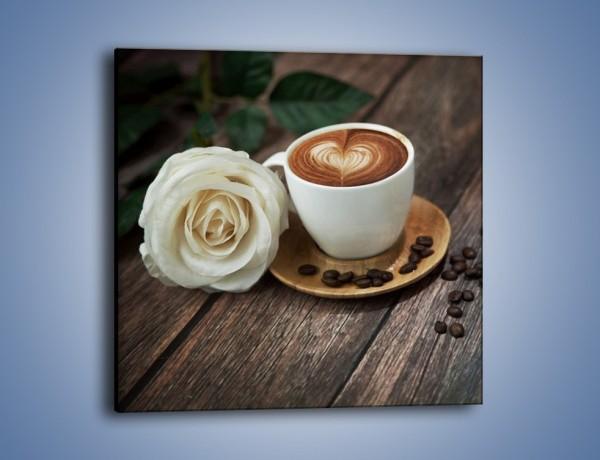 Obraz na płótnie – Kawa z różą – jednoczęściowy kwadratowy JN319