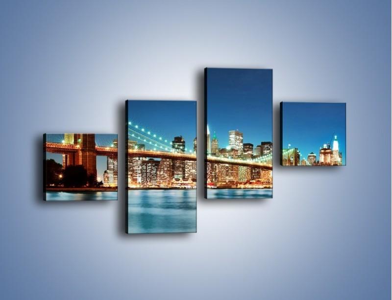 Obraz na płótnie – Most Brookliński na tle Nowego Jorku – czteroczęściowy AM428W3