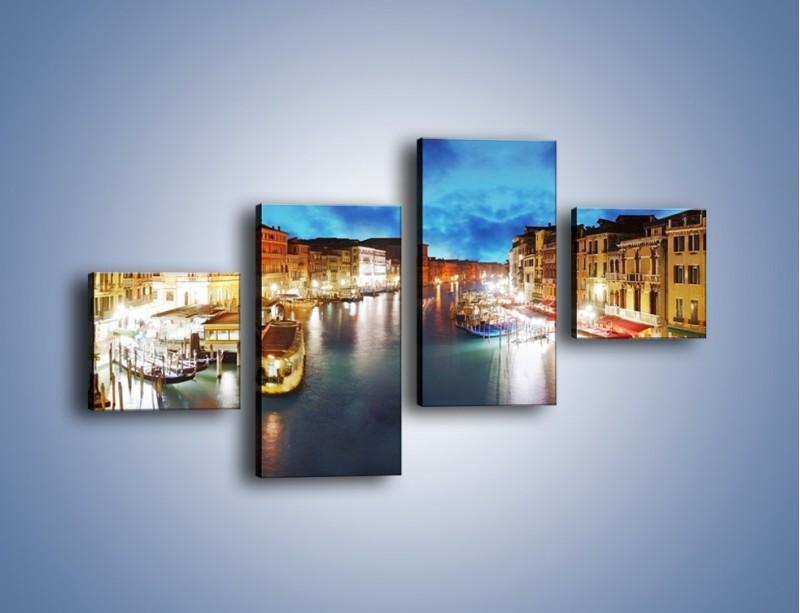 Obraz na płótnie – Światła Wenecji po zmroku – czteroczęściowy AM430W3